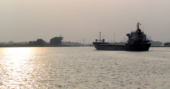 Schiff Sonnenuntergang Hafen Weser