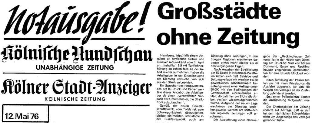 Zeitungsausschnitte zum Druckerstreik 1976.