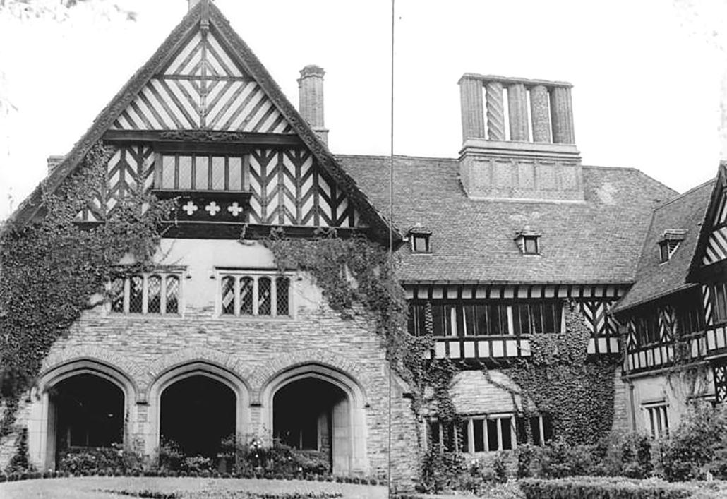 Schloss Cecilienhof mit Blick auf das Hauptgebäude, 1957.