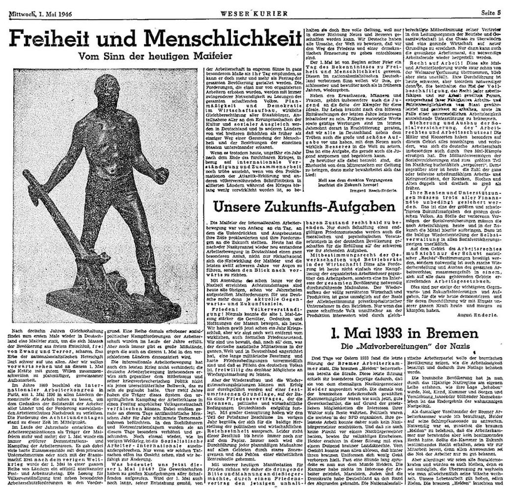 Ausschnitt aus dem Weser-Kurier zum 1. Mai 1946.