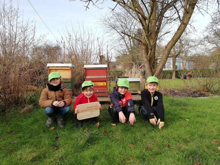 Kinder hocken vor Bienenkörben