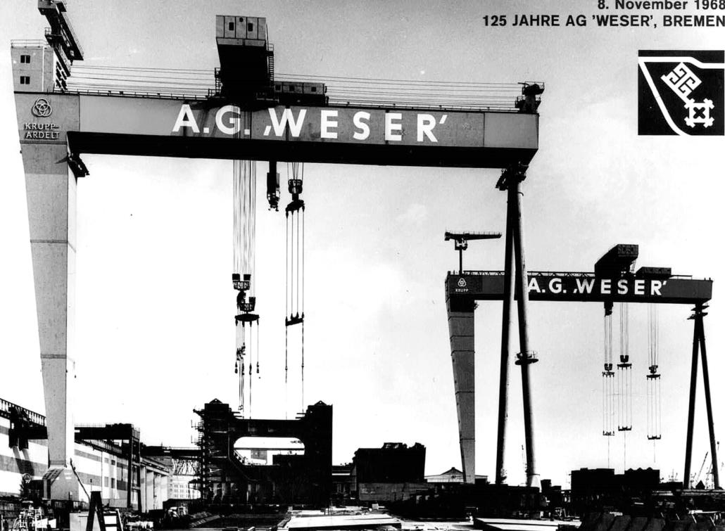 Dieses Bild zeigt zwei Helgen der ehemaligen Werft AG