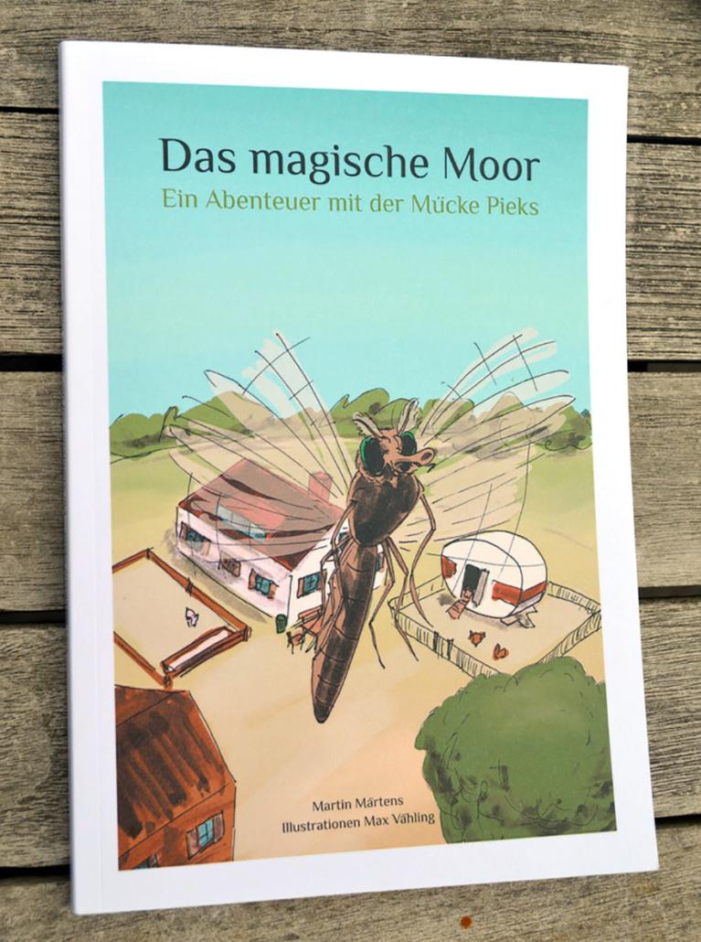 Das Cover eines Kinderbuches mit einer fliegenden Mücke.