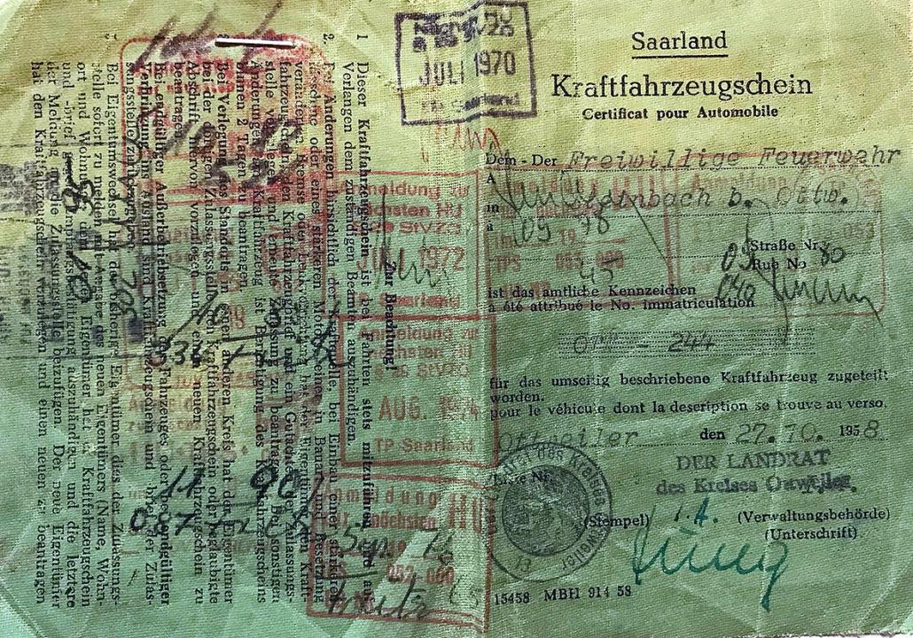 Das Bild zeigt einen Kfz-Schein aus dem Saarland von 1958.